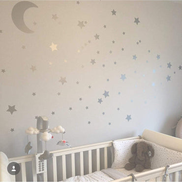 Large Moon & 21 Silver Stars Nursery Wall Decals, Nursery Wall Stickers, Baby Wall Art, Decals, Vinyl Wallpaper Art Decor, Confetti