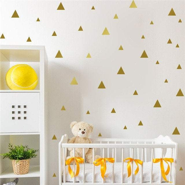Gold Triangle Wall Stickers Decals Nursery Wall Art Golden Triangle Wall Decor Home Office Childrens Bedroom