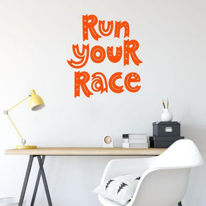 Run Your Race Motivational Wall Sticker Quote