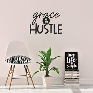 Grace & Hustle Motivational Wall Sticker Quote