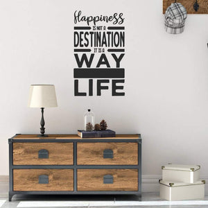 Happiness Is Not A Destination Motivational Wall Sticker Quote