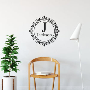 Family Initial & Surname Decorative Personalised Wall Sticker