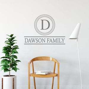 Family Initial & Surname Custom Wall Sticker