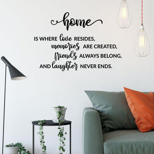 Home Is Where Love Resides Family Wall Sticker Quote