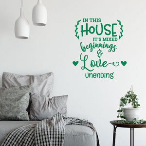 In This House Love Unending Family Home Wall Sticker Quote