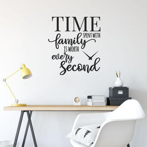 Time Spent With Family Is Worth Every Second Family Wall Sticker Quote