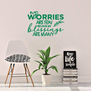 Worries Blessings Inspirational Wall Sticker Quote