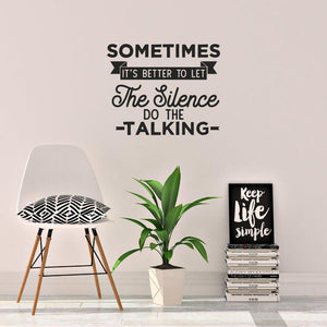 Silence Do The Talking Motivational Wall Sticker Quote