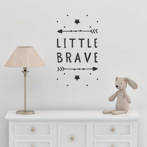 Little Brave With Arrows & Stars Nursery Wall Sticker Quote