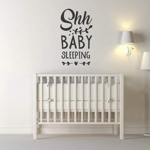 Shh Baby Sleeping Nursery Wall Sticker Quote