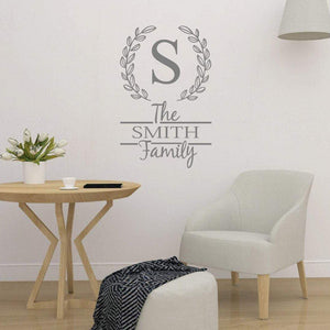 Family Initial & Surname Personalised Wall Sticker