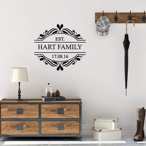 Family Initial Surname & Year Decorative Personalised Wall Sticker