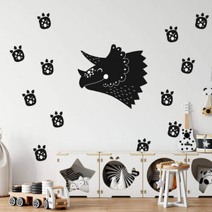 Children's Dinosaur Wall Sticker With Footprints