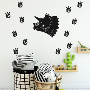 Dinosaur Wall Sticker With Footprints