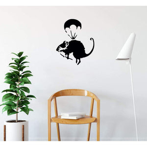 Banksy Parachute Rat Wall Sticker