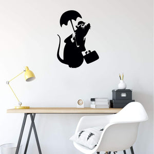Banksy Wall Sticker Rat With Umbrella