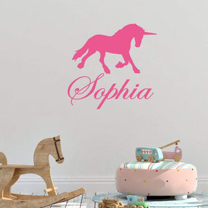 Personalised Name Unicorn Childrens Wall sticker