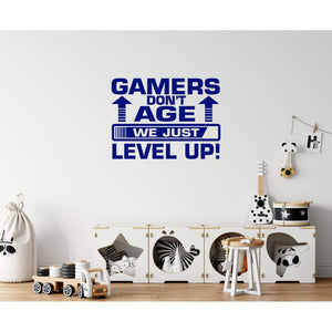 Gamers Don't Age We Just Level Up Gaming Wall Sticker