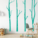 4 Large Birch Tree Wall Stickers