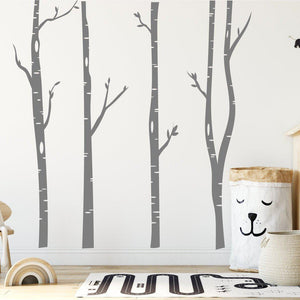Tall Birch Tree Wall Stickers 4 Pack