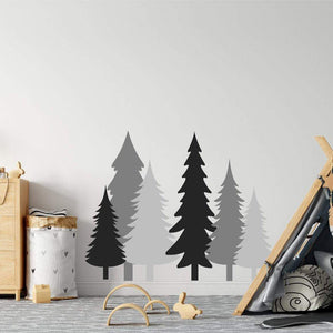 6 Pine Tree Wall Stickers Black, Grey & Dark Grey
