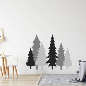 Multicolour Pine Tree Set Of 6 Wall Stickers