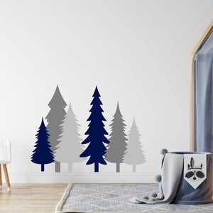 6 Pine Tree Wall Sticker Pack Grey & Dark Blue