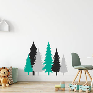 Pine Tree Wall Stickers Set Black, Grey & Aqua Green