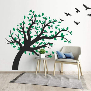 Large Over Hanging Tree With Flying Birds Wall Sticker