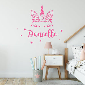 Personalised Name Unicorn Wall Sticker With Stars