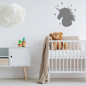Unicorns Head With Stars Wall Sticker