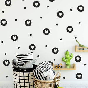 Irregular Circles With Hearts & Polka Dots Wall Stickers