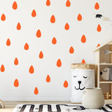 Raindrop Wall Stickers Hand Drawn 42 Pack