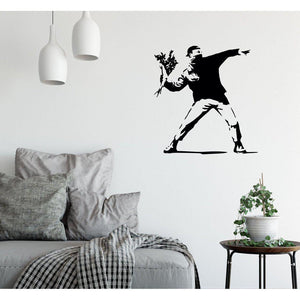 Vandal Throwing Flowers Banksy Wall Sticker