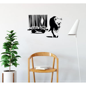 Lion Escape Cage Banksy Wall Sticker