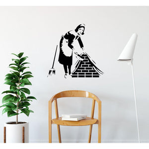 Cleaning Lady Brickwork Banksy Wall Sticker