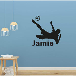 Boys Personalised Name Wall Sticker Football Kick