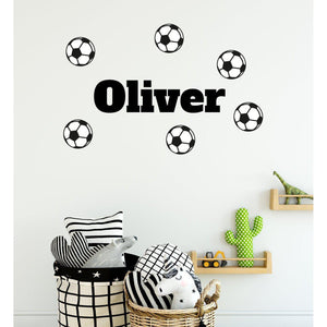 Customised Boys Name With Footballs Wall Sticker