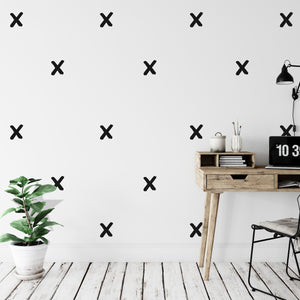 Hand Drawn X Cross Wall Stickers 45 Pack