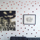 Rose Gold Polka Dot Wall Stickers 100 Pack