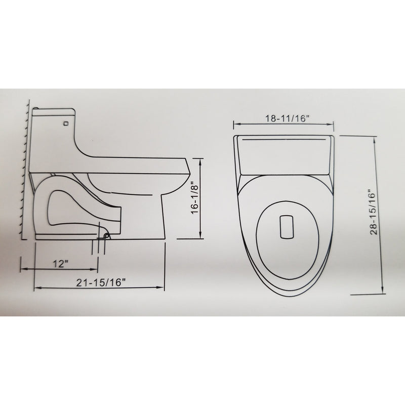Elongated One Piece Toilet  w/Install Products