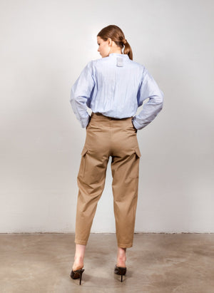 High-waisted cargo pants in beige