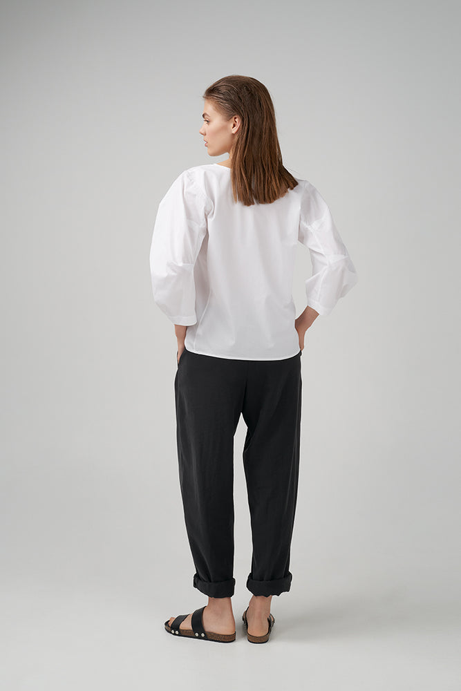 Relaxed fit viscose fabric trousers in black