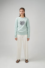 Long sleeve jersey sweatshirt in mint green