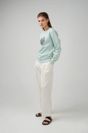 Relaxed fit cotton mixed fabric trousers in white