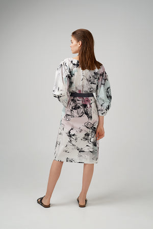 Cotton poplin dress in  graphic pattern printed throughout