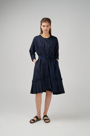 Long kimono sleeve cotton poplin dress in dark blue