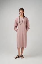 Viscose fabric dress in nude