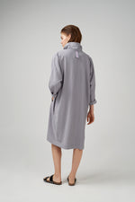 Long kimono sleeve viscose fabric dress in light grey