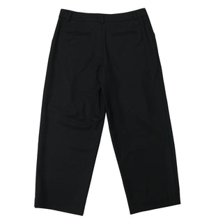 Relaxed fit wool twill trousers in black